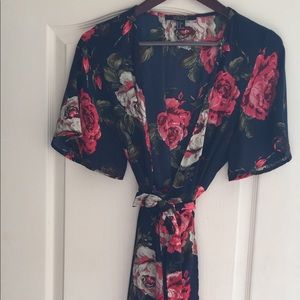 Navy with red flowers dress